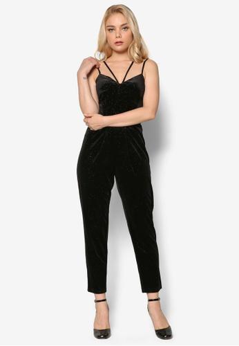 Miss Selfridge black Black Glitter Velvet Jumpsuit MI665AA80FJNMY_1