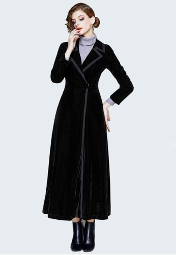 Twenty Eight Shoes black VANSA Fashion Velvet Over The Knee Coat  VCW-C9005703 A3215AA9BEC96AGS_1