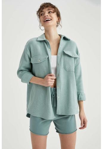 DeFacto blue Woman Woven Long Sleeve Shirt CA7E0AAC8097C3GS_1