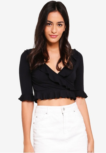 MISSGUIDED black Ruffle Wrap Jersey Crop Top DC126AA24618A4GS_1