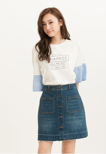 H:CONNECT white SHARKEE Pinstripe Sleeves T-Shirt 15173AA44B9851GS_1