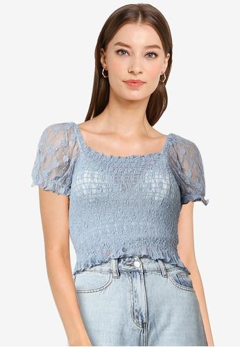 Urban Revivo 藍色 褶飾上衣 9D5ECAA628556FGS_1