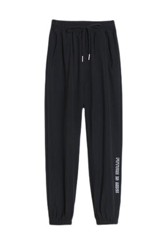 Zafiti black Women's Drawstring Waist Ankles-tied Thin Cotton Sports Pant - Black 720BDAA04AC13BGS_1