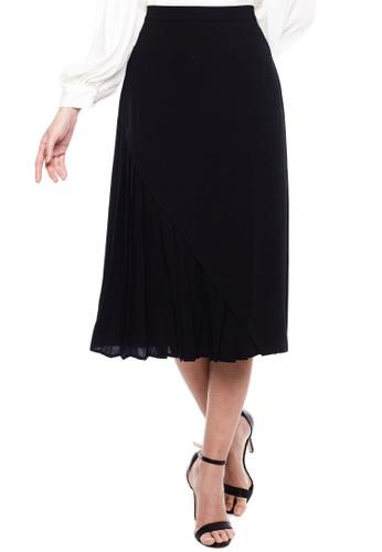 Nichii black Asymmetrical Pleat Midi Skirt 37F2AAAB590AF0GS_1