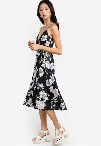 Something Borrowed black Printed Wrap Midi Dress D8AB4AAA8E5226GS_1