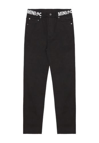 Mini cream black Branding embroidered jeans A3097AA1497C8FGS_1