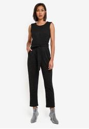 Dorothy Perkins black Petite Gold Sparkle Jumpsuit DO816AA0SB6FMY_1