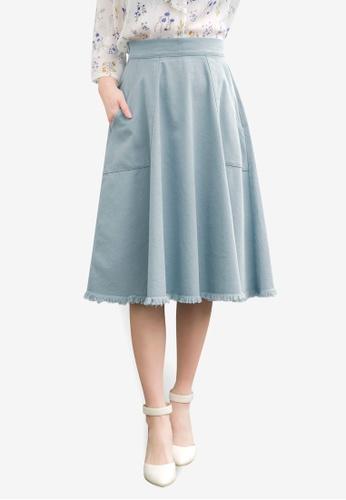 Tokichoi blue Ruffled Knee Length Skirt 03E8EAAB2B8697GS_1
