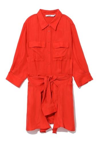 b+ab orange Self tie shirt dress E5D57AA00156F3GS_1