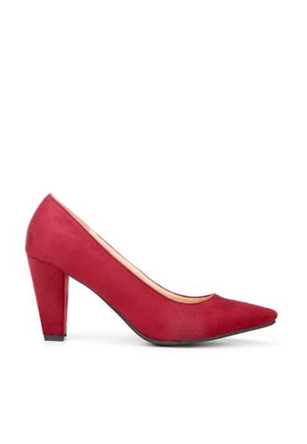 KissXXX 紅色 久走不累厚粗跟美腿效果8CM尖頭高跟鞋 KI603SH09MSHTW_1