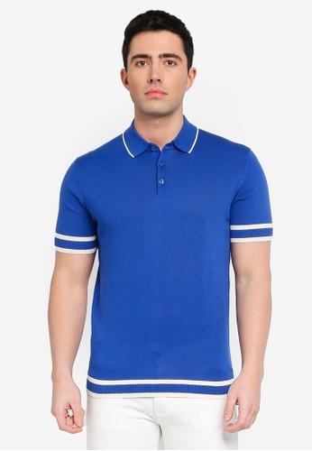 MANGO Man blue Striped Jersey Polo Shirt E46A4AAAB4938AGS_1