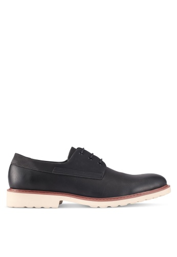 ZALORA black Mix Material Faux Leather Lace-Up Dress Shoes 22E9BSH2C32A3EGS_1