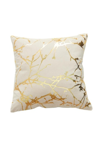 DILAS HOME Tree Branch Gold Print Cushion Cover (Dusty pink) 10F7AHL025293BGS_1