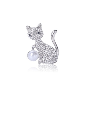 Glamorousky white Bright and Cute Cat Imitation Pearl Brooch with Cubic Zirconia 71751AC09E7B5CGS_1