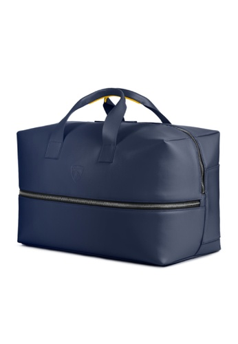 LAMBORGHINI blue Automobili Lamborghini® Pure Blue Calf Leather Travel Bag Made in Italy 31A0FACF0D5799GS_1
