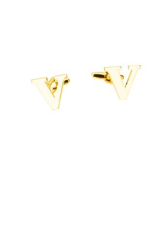 Glamorousky silver Simple Personality Plated Gold English Alphabet V Cufflinks 0DE69ACF636A2CGS_1