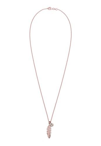 施華洛esprit童裝門市世奇水晶羽毛鍍玫瑰金 925 純銀項鍊, 飾品配件, 項鍊