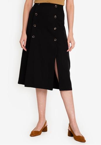 ZALORA WORK 黑色 Button Panel Skirt With Slit A0E39AA4B2DB4CGS_1