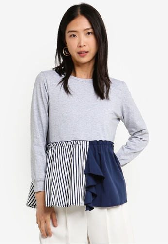 BYSI grey Stripe Contrast Sweater F4FAAAACBCAA41GS_1