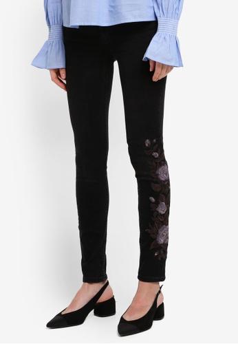 Mango black Floral Embroidery Jeans 313BFAAD7682EEGS_1
