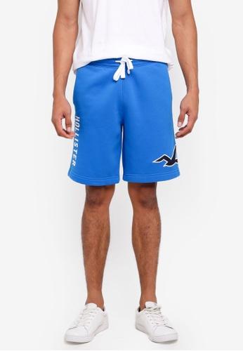 Hollister 藍色 Logo抽繩棉短褲 12B06AAF27848CGS_1