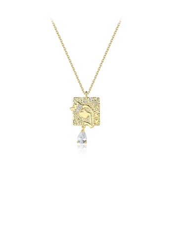 Glamorousky white Fashion Personality Plated Gold Pattern Geometric Square Pendant with Cubic Zirconia and Necklace AE6A0AC426165FGS_1