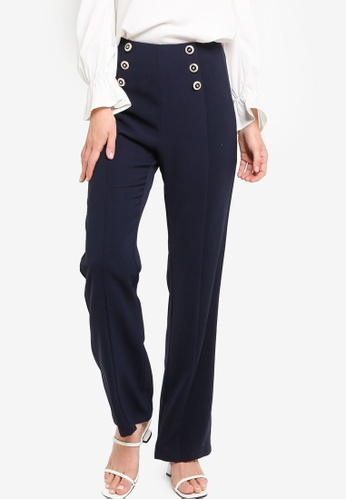 ZALORA WORK navy Military Button Pants 87F89AAD93391BGS_1