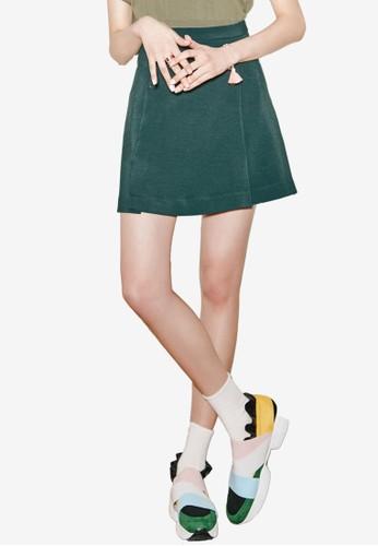 NAIN green A Line Button Mini Skirt 5CADAAA9809413GS_1