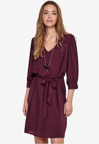JACQUELINE DE YONG red Amanda 3/4 Puff Dress AB477AA2922C0CGS_1