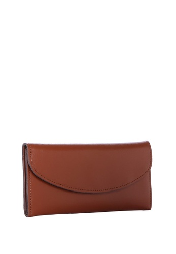 Dazz brown Calf Leather Simplicity Wallet - Brown DA408AC71KMIMY_1