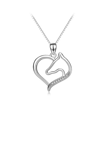 Glamorousky white 925 Sterling Silver Fashion Simple Horse Head Heart Pendant with Cubic Zirconia and Necklace 360E9AC6F81857GS_1