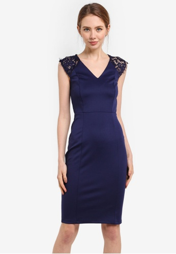 Dorothy Perkins navy Navy Lace Shoulder Pencil Dress 57300AA59A4D3AGS_1