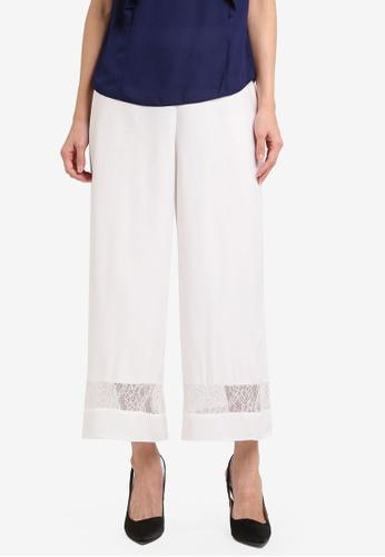 Dorothy Perkins white Lace Hem Crop Palazzo Pants DO816AA0SRDBMY_1