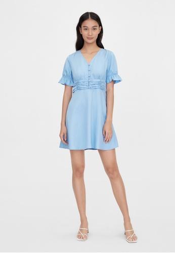 Pomelo blue Purpose Cinched Short Sleeve Dress - Blue A8A8BAA3A12518GS_1