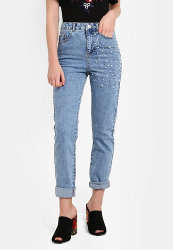 Miss Selfridge blue Pearl Embellished Mom Jeans MI665AA0RN0PMY_1