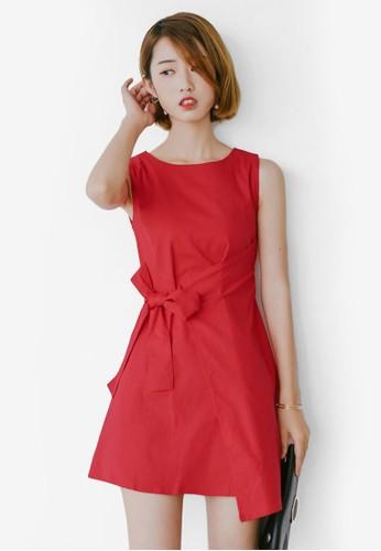 Agesprit香港門市ate 蝴蝶結抓皺無袖連身裙, 服飾, 短洋裝