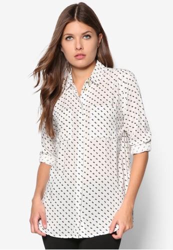 印花弧形下擺長袖襯衫, 服飾,zalora taiwan 時尚購物網鞋子 上衣