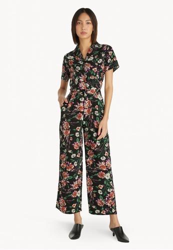 Pomelo black Bold Floral Button Up Shirt - Black 30DBAAA49EB646GS_1