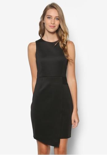 不對稱裹飾擺無zalora 手錶袖洋裝, 服飾, 洋裝
