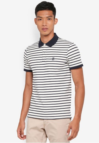 Selected Homme blue Haro Stripe Polo 360B7AA3FDDC8DGS_1