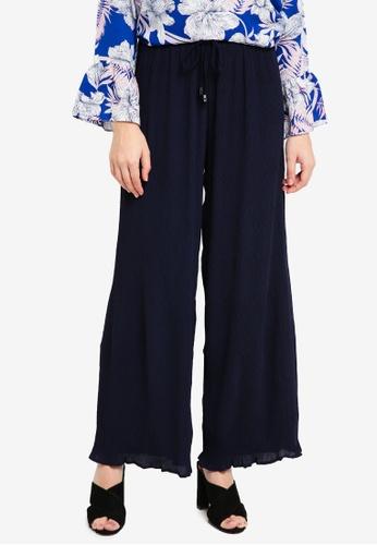 TOPGIRL blue Georgette Pleated Pants 2EBF3AA03F73B1GS_1