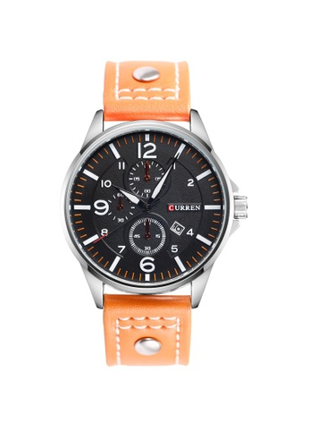 curren orange Curren 8164 Men's Military Sports Date Display Leather Strap Classic Watch (Orange) CU537AC97TUWMY_1