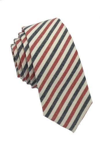 Splice Cufflinks Passe Series Blue Red & White Thin Stripes Cotton Tie SP744AC35LOMSG_1