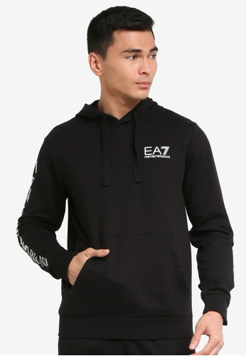 EA7 black Train Logo Series Hoodie 91109AA0B318C9GS_1