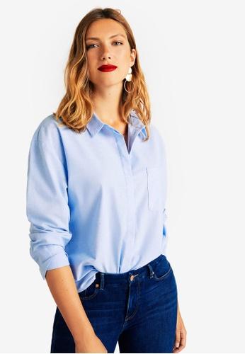Violeta by MANGO blue Plus Size Chest-Pocket Cotton Shirt 3401FAA8FCCB44GS_1