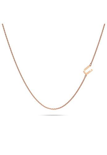 Bullion Gold gold BULLION GOLD Bold Alphabet Letter Initial Charm Necklace in Rose Gold Tone - U 10803AC91C2F32GS_1