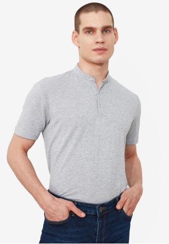 Trendyol grey Grandad Polo Shirt 0792BAA6EEEA8EGS_1