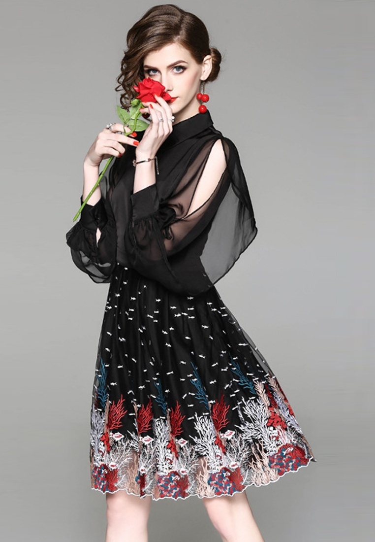 2018 One Spring Pattern Dress Embroidery Sunnydaysweety Black Piece New CA031495 r6rnxwf