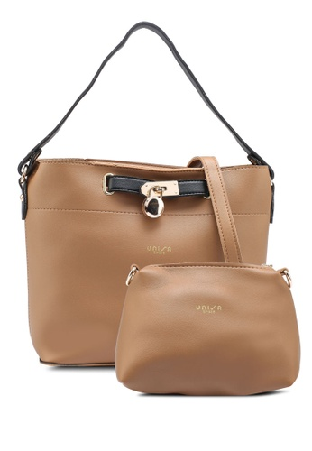 Unisa brown Colour Block Faux Leather Top Handle Bag Set Of 2 86FFCAC0B89FEBGS_1