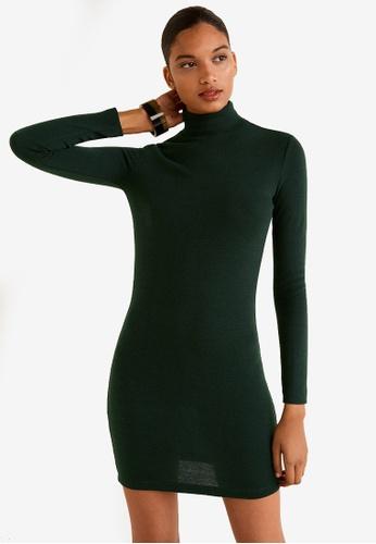 Mango green Knitted Perkins Neck Dress F0536AA5419528GS_1